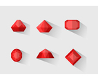 Red Gemstone Vector Set