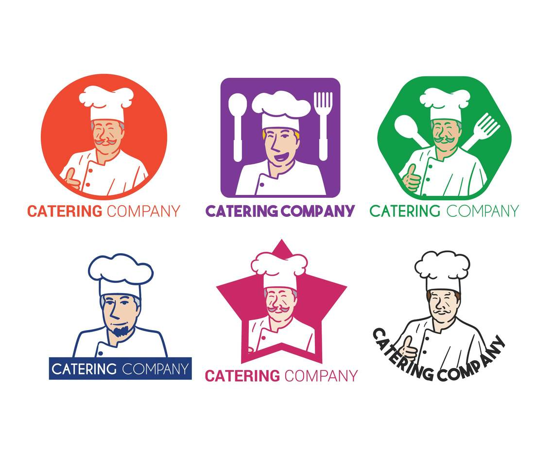 Catering chef logo template vectors