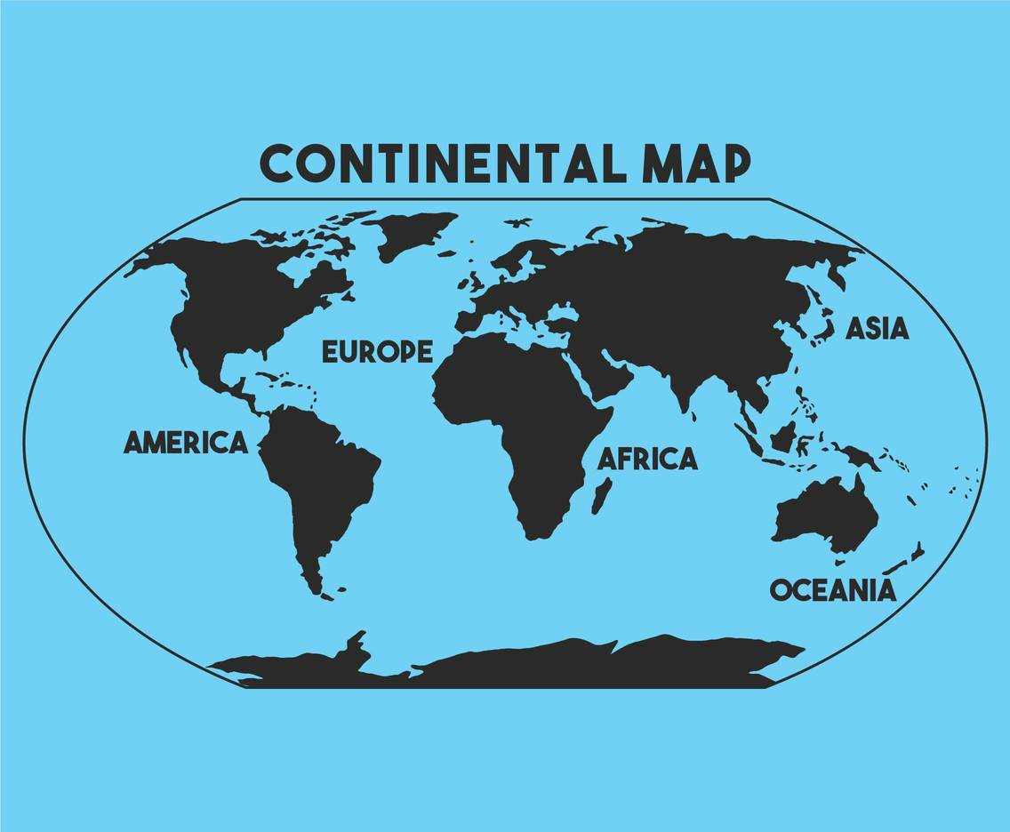 Continental map vector