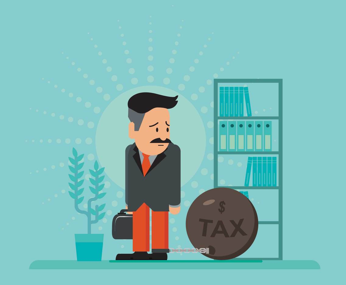 Free Businessman And Tax Burden Illustration
