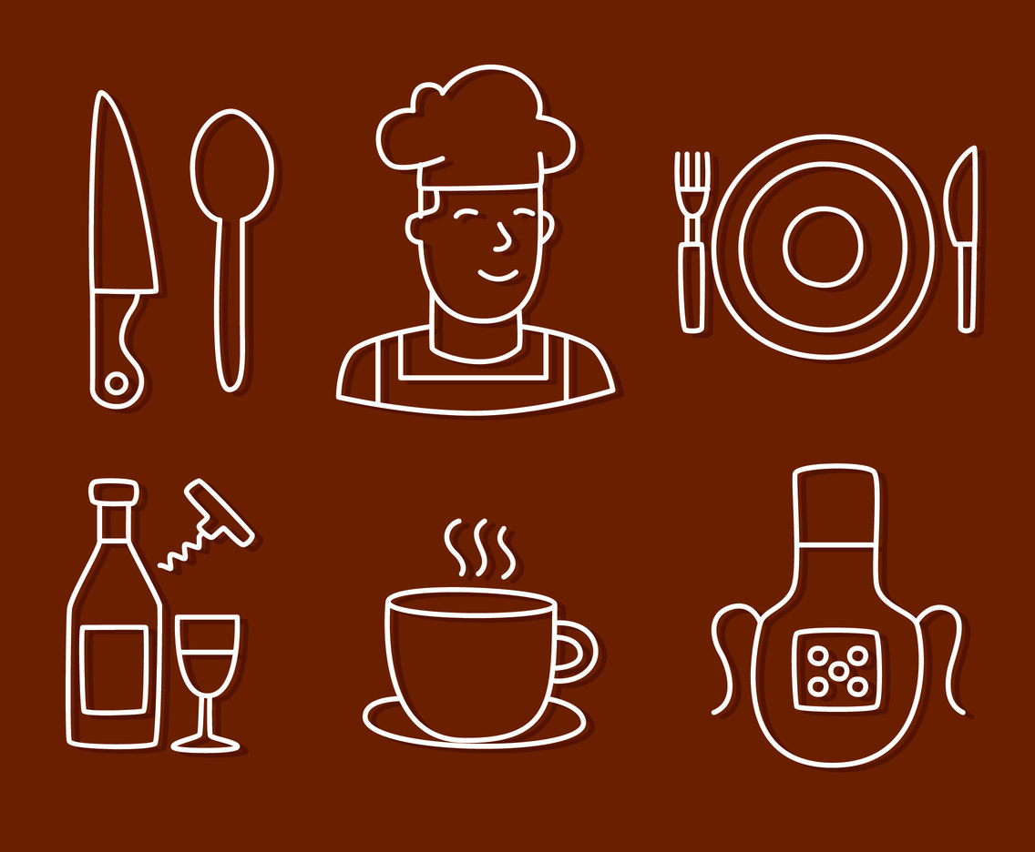 Catering Eement Line Icons Vectors