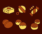 Chocolate Caramel Candy Collection Vector
