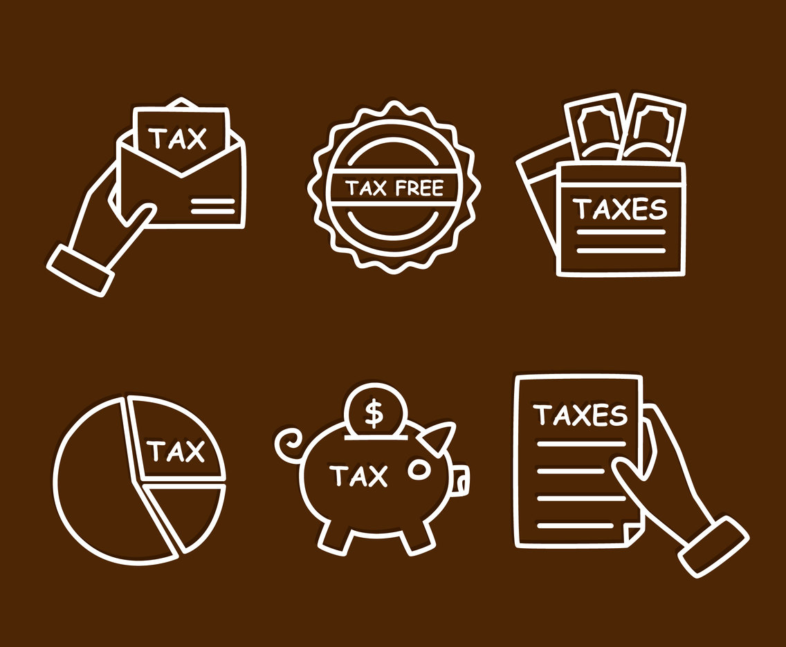 Tax Sketch Icons Vector