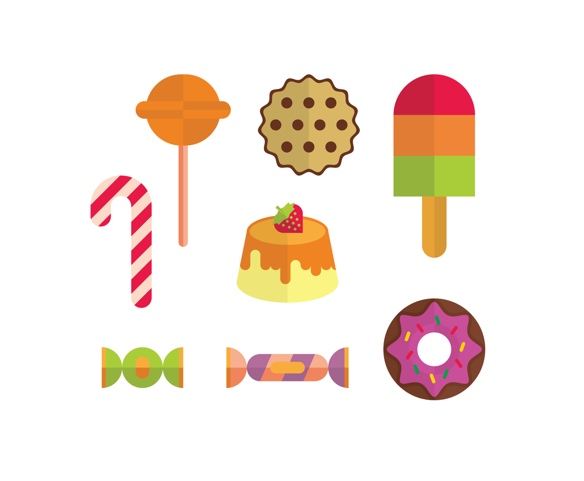 Caramel Cookies and Candies Vector