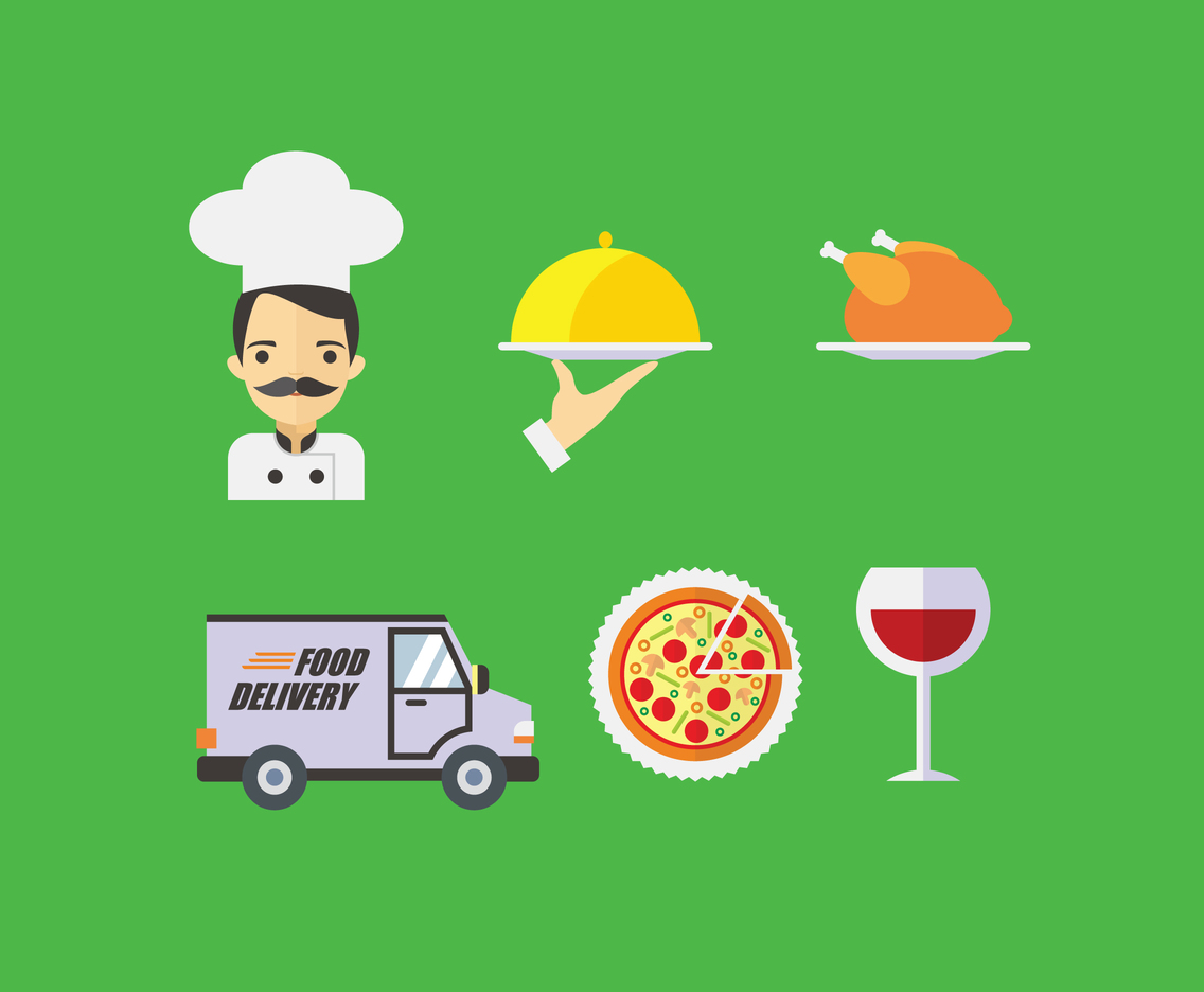 Flat Catering Illustration Vector