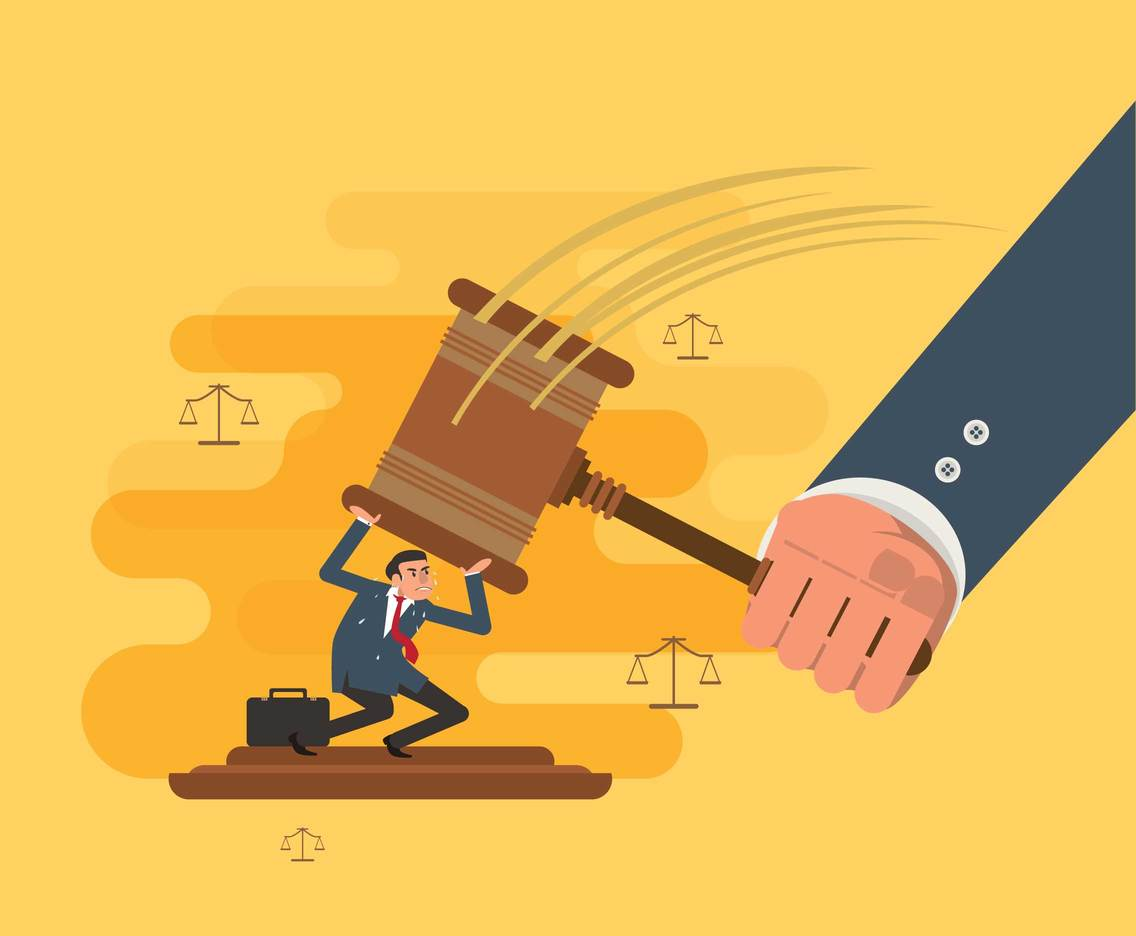 Man Fighting Gavel Vector