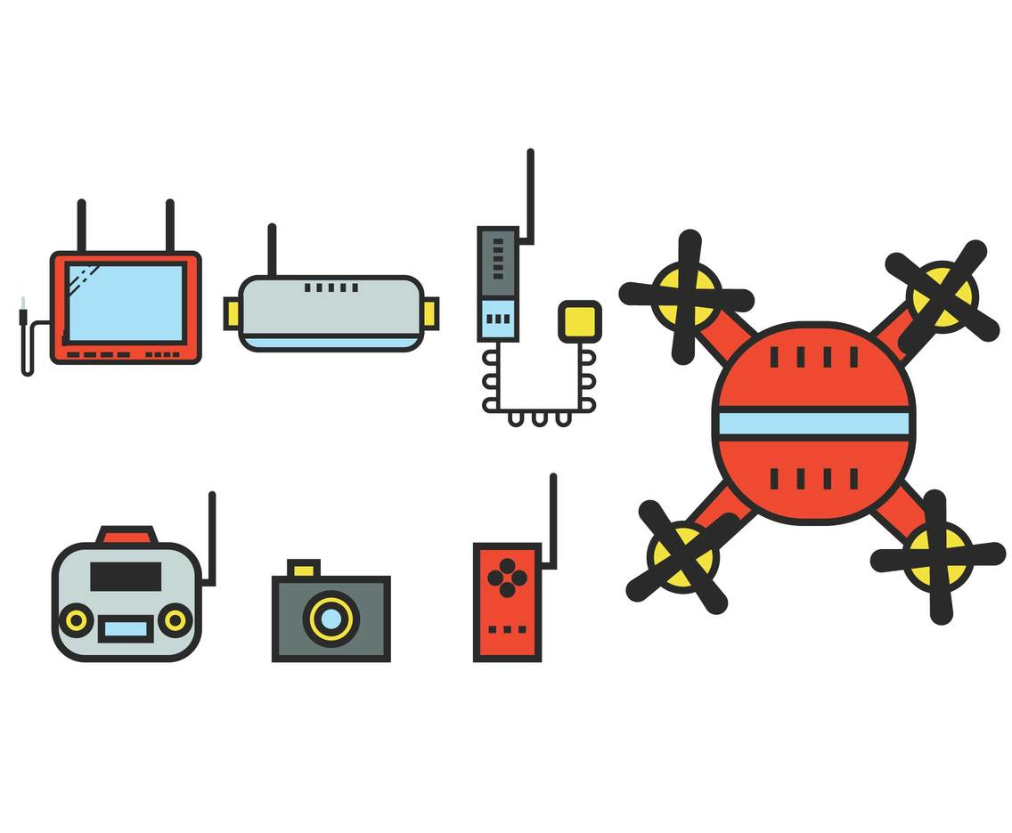 FPV drone equipment icon set
