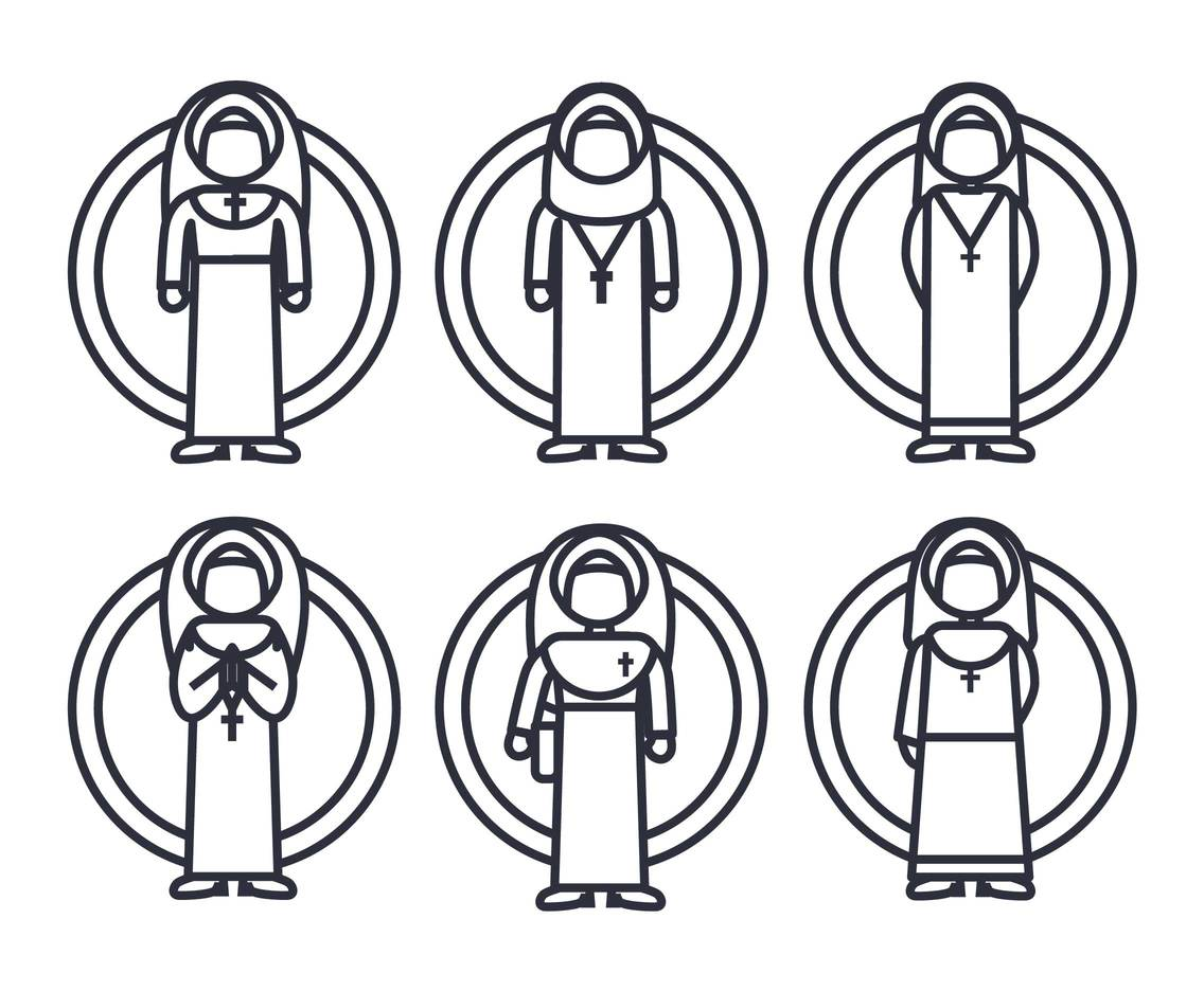 Nun Icon Vector Set
