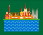 Barcelona City Scene Vector