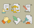 Colored Hand Drawn Lawyer Element Vectors