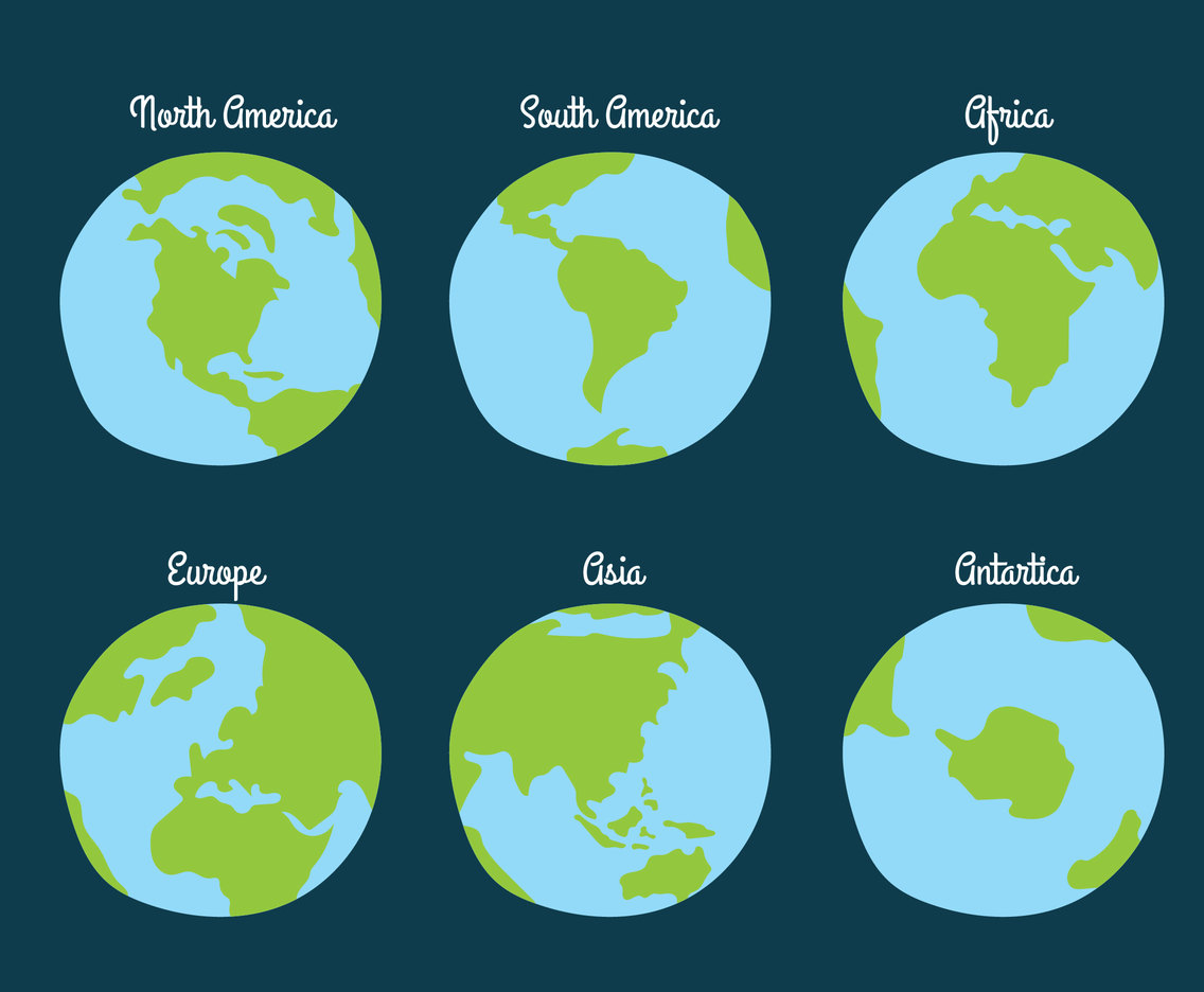Globe Continent Collection Vector