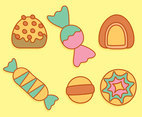 Sweet Caramel Candy Collection Vectors