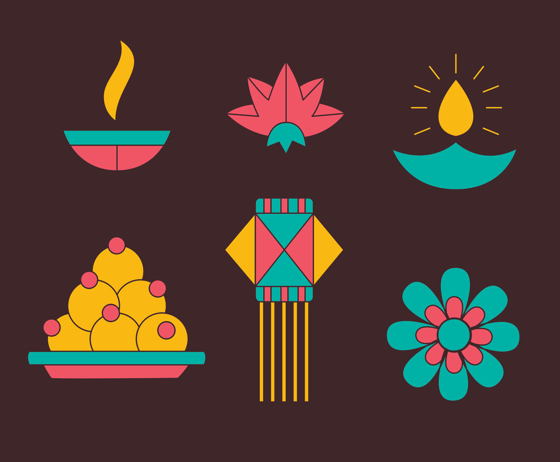 Nice Hindu Festival Element Vectors