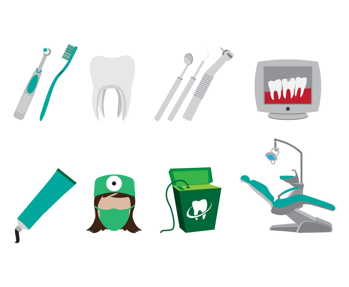 Dental Clinic Element Icon Vectors