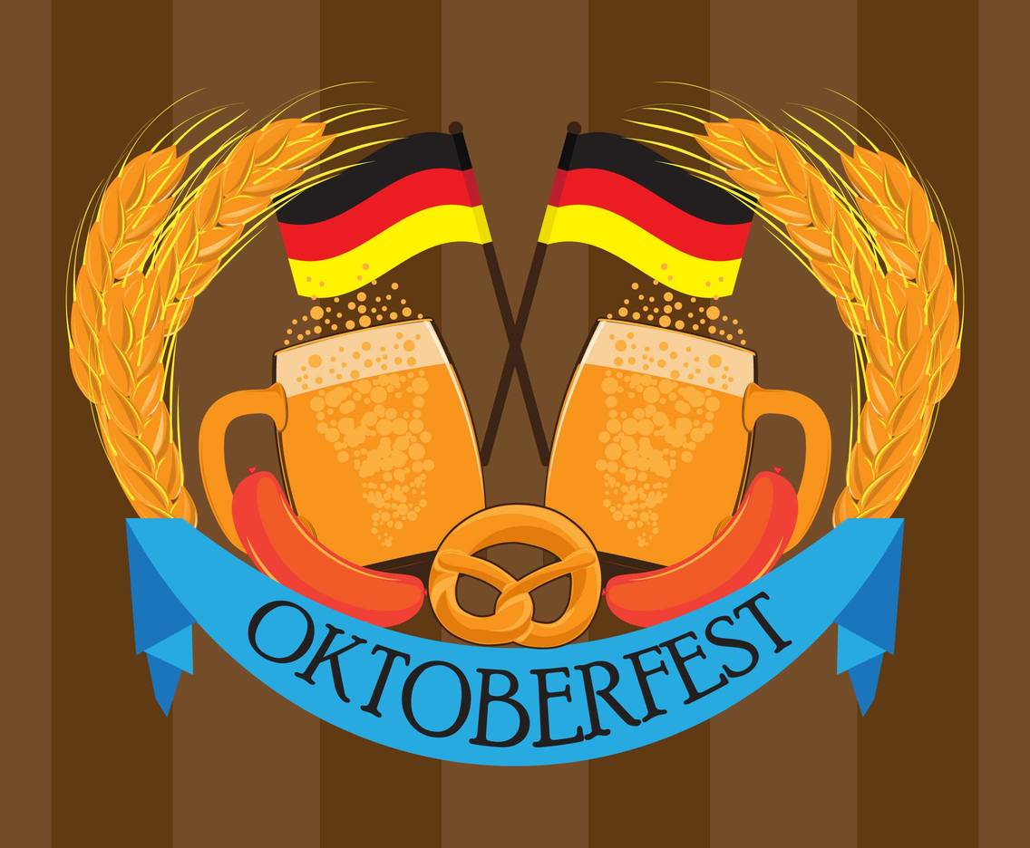 German Oktoberfest Celebration Background Vector