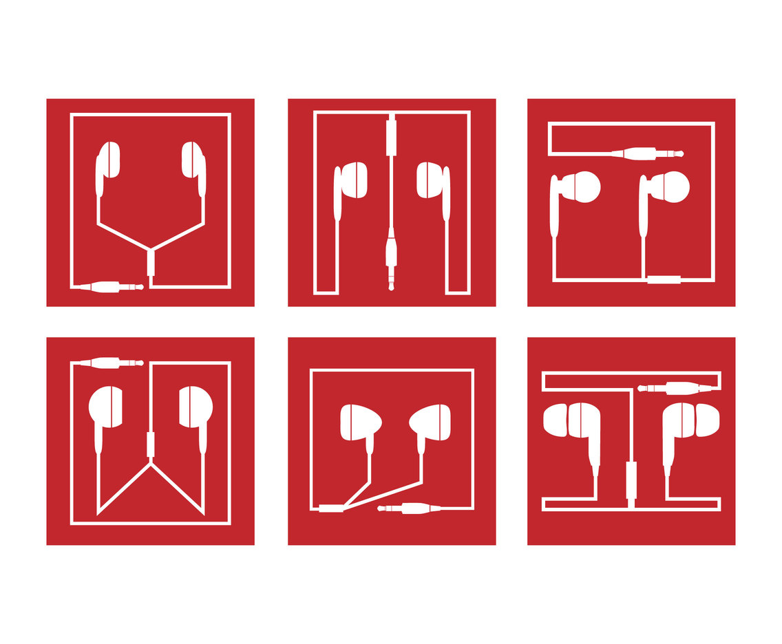 Red Square Earphones Vector Icons