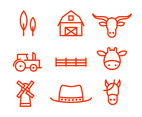 Red Line Ranch Icon Vector