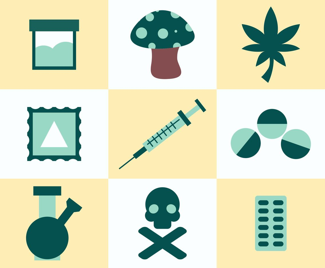 Drugs And Addiction Icons