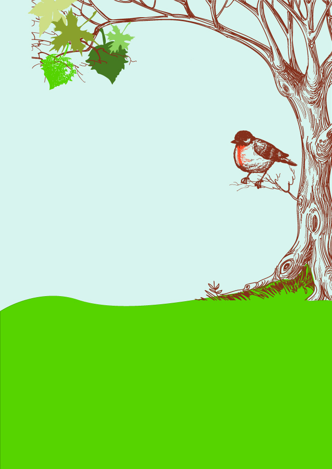 Bird on Tree Background Vector