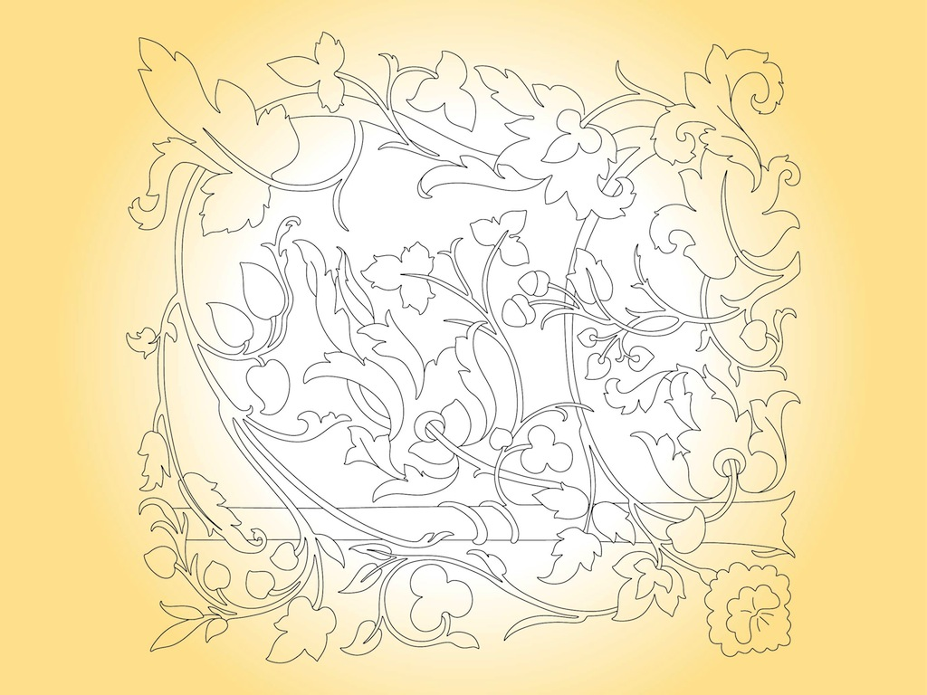 Floral Outlines Frame