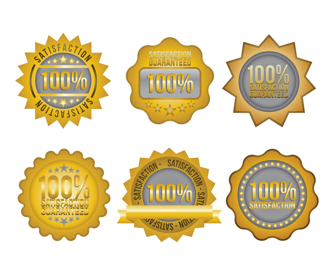 Satisfaction Gold Gradient Badge Vectors