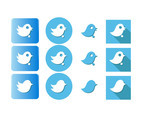 Tweeter Bird Icon Button Vectors