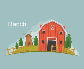 Free Ranch With Green Landscape Illustration