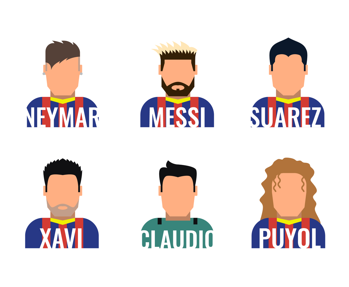 Barcelona Football Team Player Vector