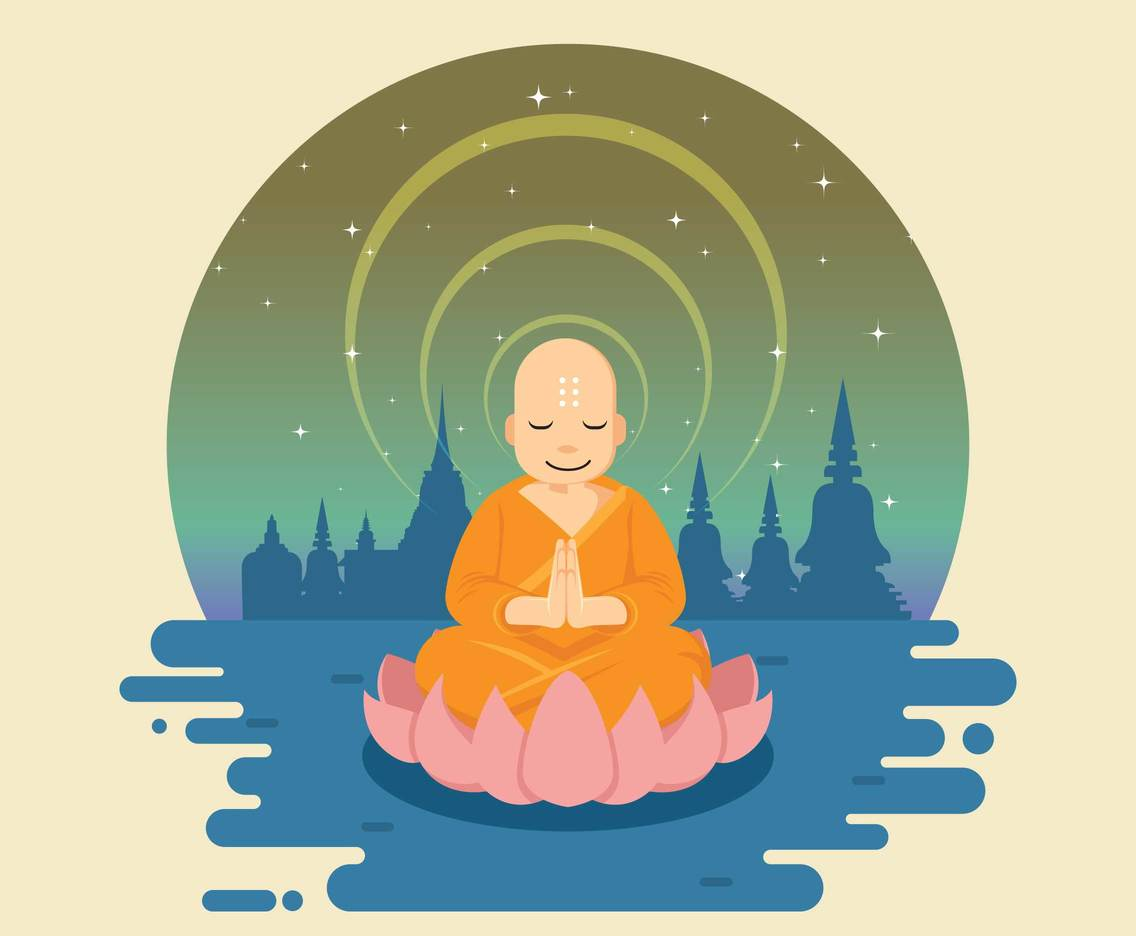 buddha illustration meditating buddha on lotus illustration vector art 6118
