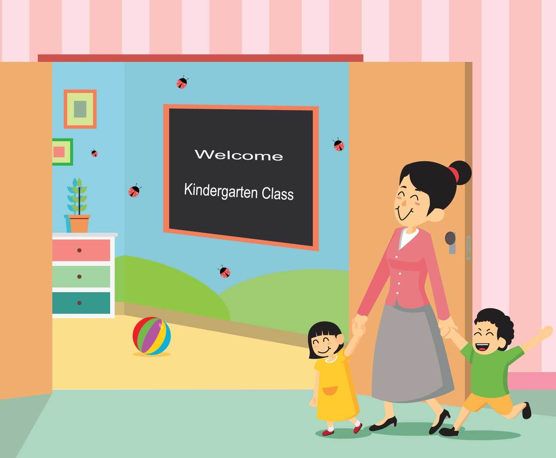 Kindergarten Teacher with Students Vector Illustration