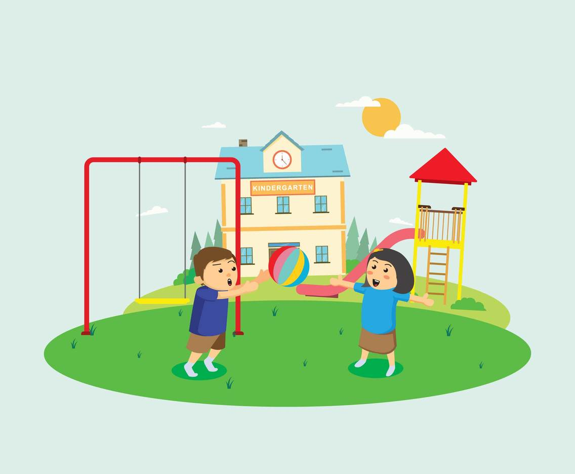 Children Playing Ball in Kindergarten Yard Illustration