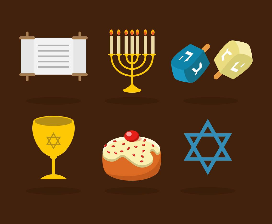 Jewish Objects Illustrations Vector
