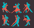 Salsa Dance Silhouette Vector Set