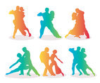 Salsa Dance Silhouette Gradient Colors Vectors