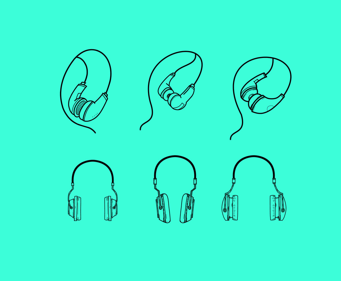 Outlined Earphones Vectors