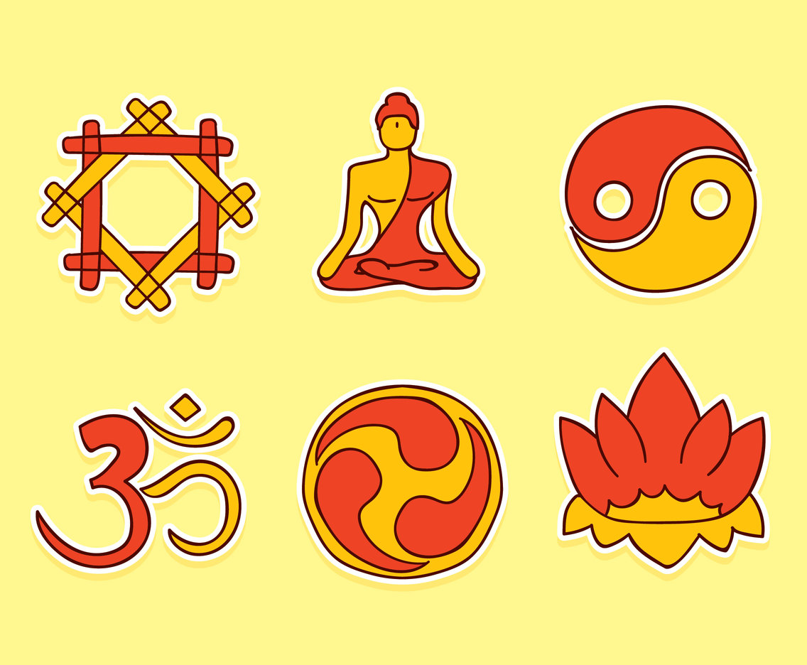 Hand Drawn Buddhist Element Vectors