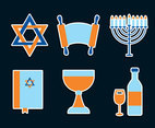 Jewish Element Icons Vector