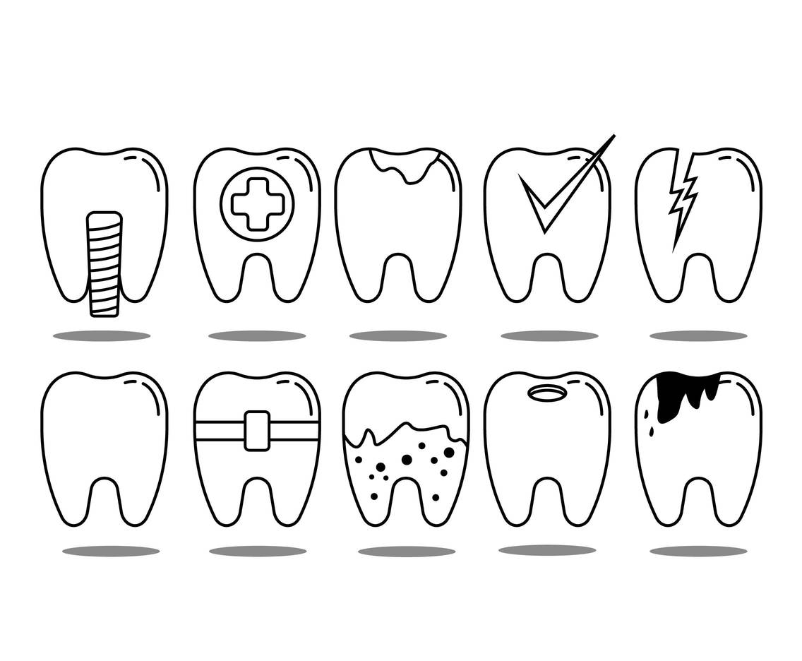 Dental Thin Line Icon Vector Set