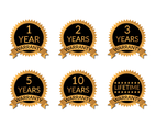 Golden Badge Years Warranty Vector