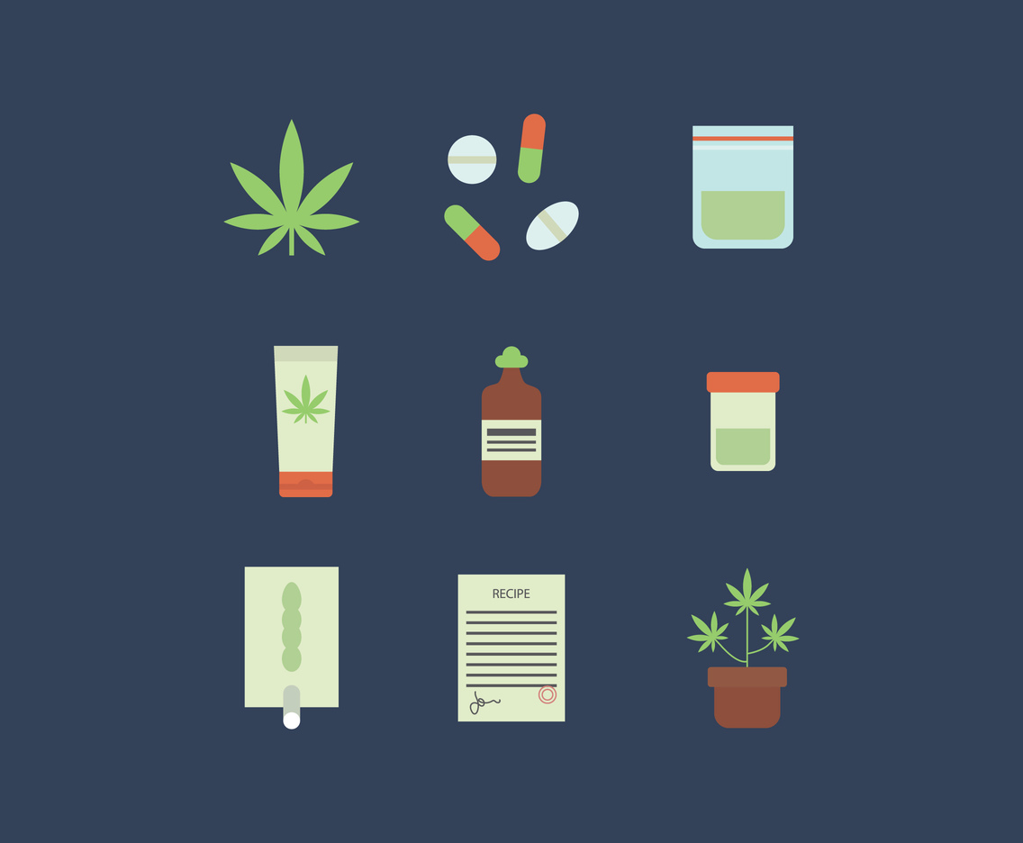 Flat Cannabis Icons