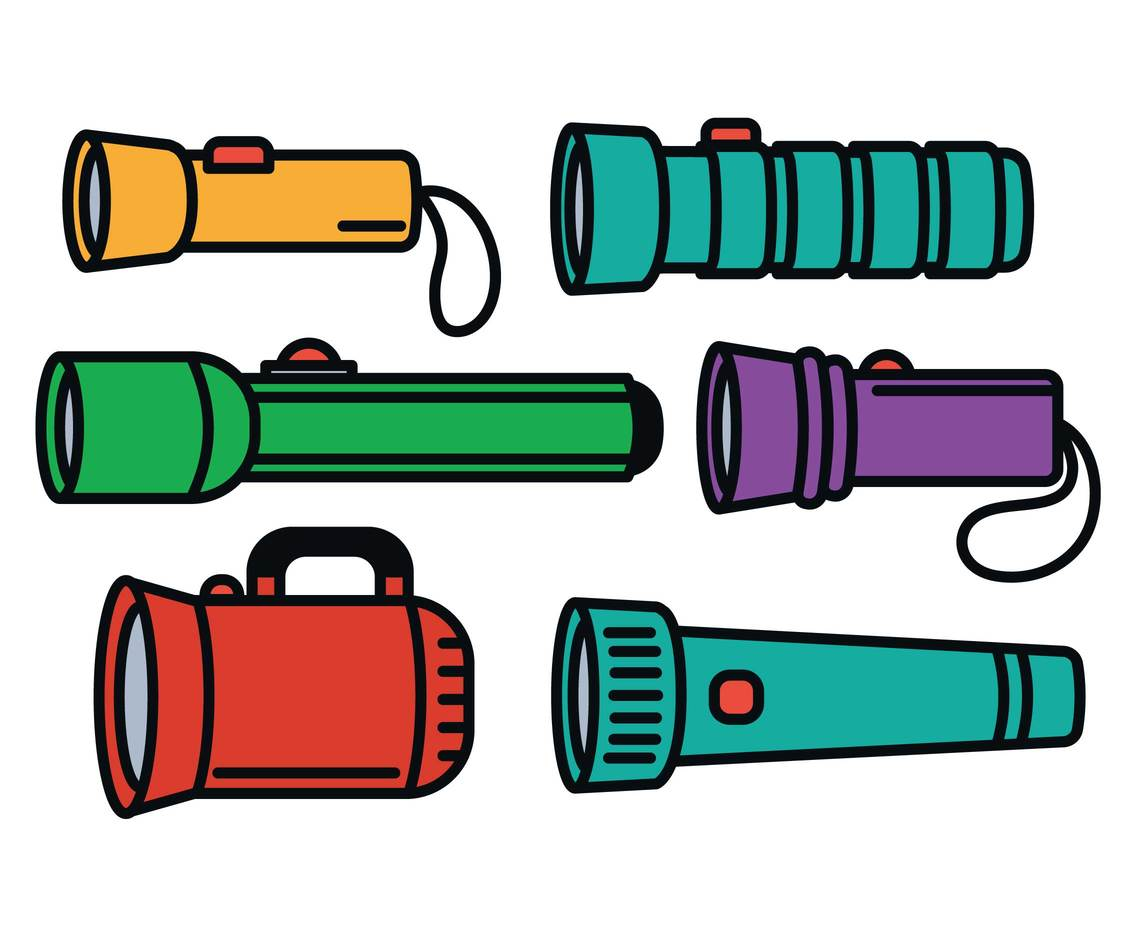 Flashlight vector set