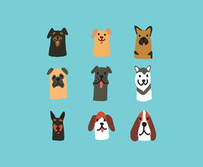Cute Hand Drawn Dog Face Vectors