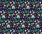 Cannabis Elements Pattern Vector