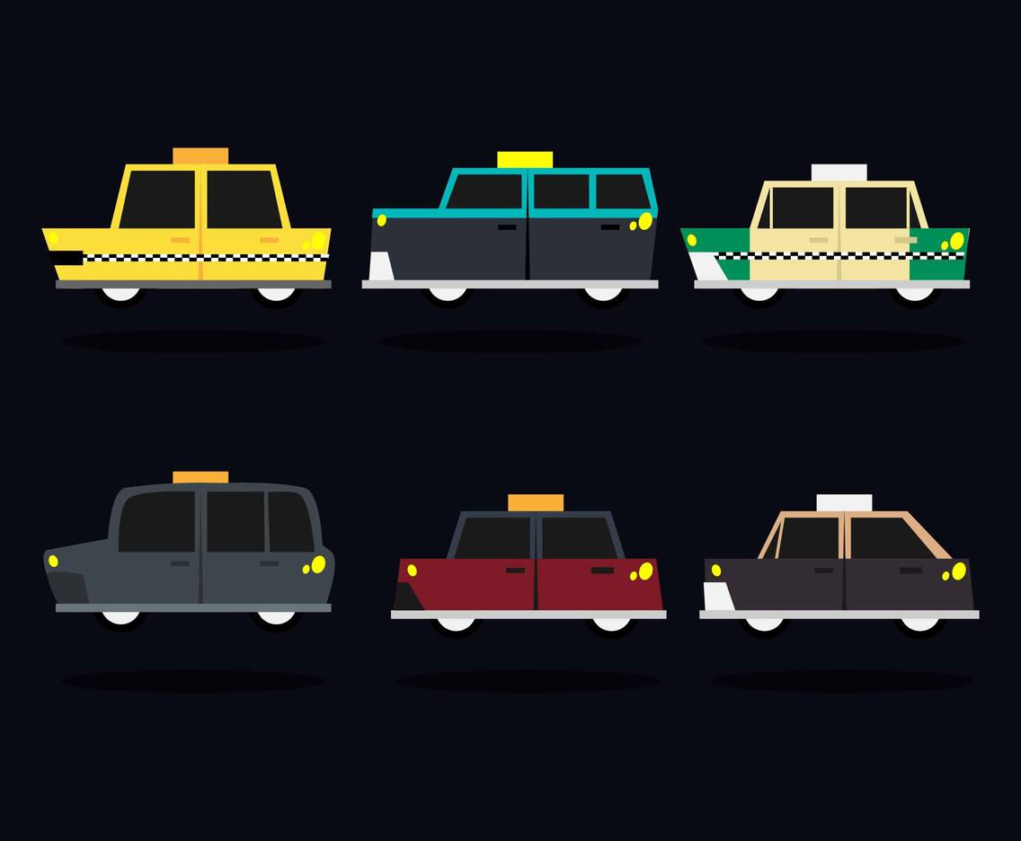 Taxi Different Countries Illustration Vector