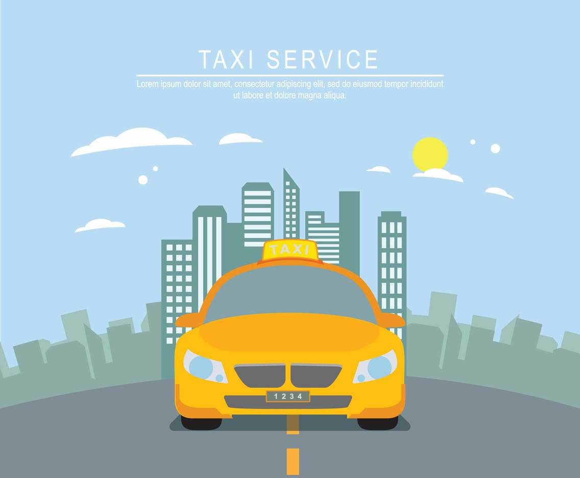 Free Yellow Taxi With City Background Illustration