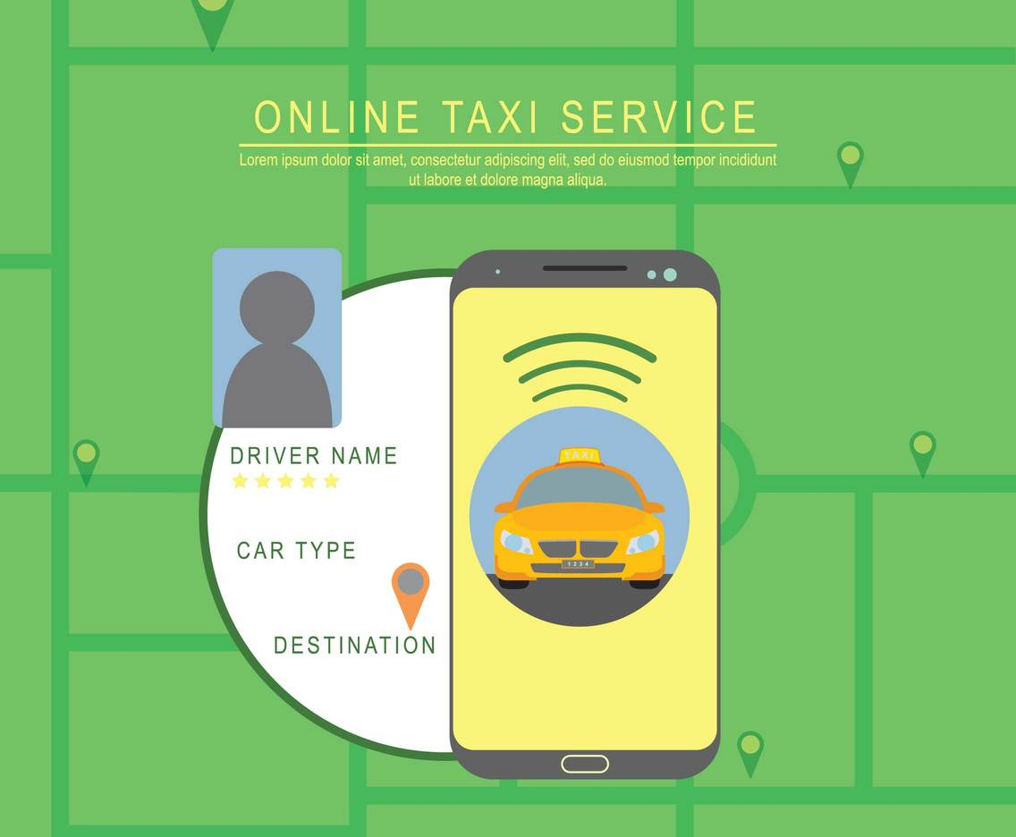 Free Online Taxi Service Illustration