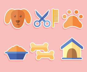Flat Dog Grooming Element Vector