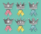Platinum Crown Medals Vector Pack