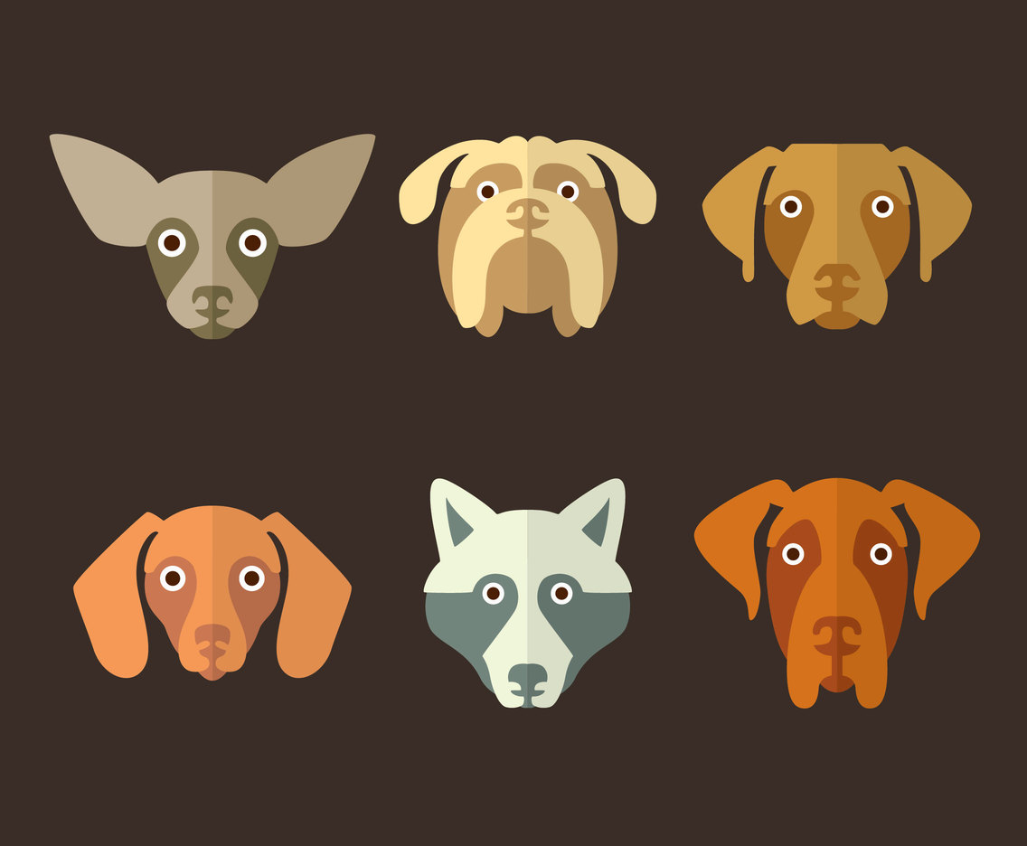Flat Dog Face Collection Vector