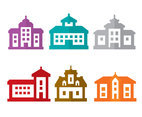 Colored Mansion Icons Vector
